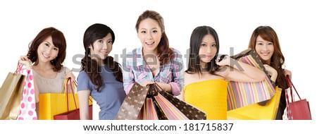 Happy smiling Asian shopping women on white background. - stock photo