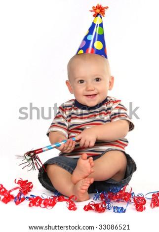 Happy Smiling Baby Boy Celebrating His Birthday on White Background - stock photo