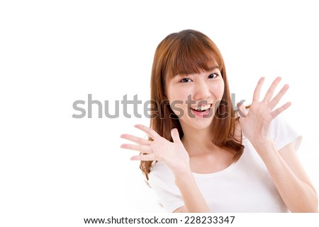 happy, smiling, beautiful, positive woman on isolated white background - stock photo