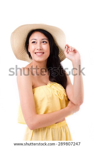 happy, smiling beautiful woman in summer dress looking up - stock photo