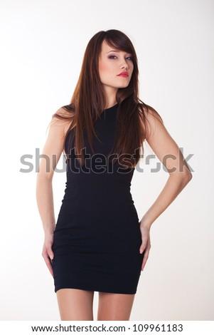 Happy smiling beautiful woman on white background - stock photo