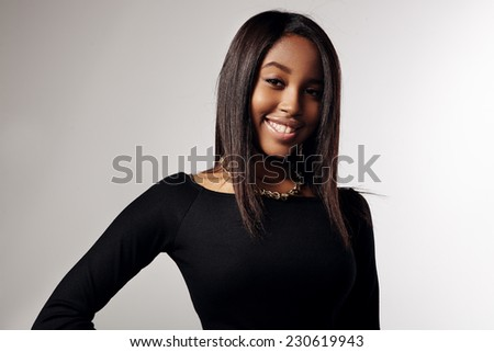 happy smiling blak woman with a straight hair - stock photo