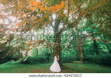 Happy smiling bride and groom embracing in their wedding day near autumn tree - stock photo