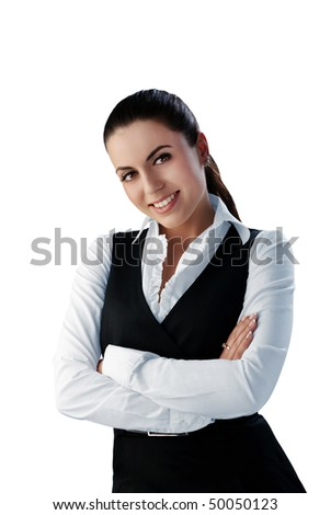 Happy smiling brunette - stock photo