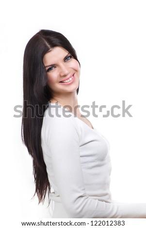 Happy smiling brunette girl - stock photo