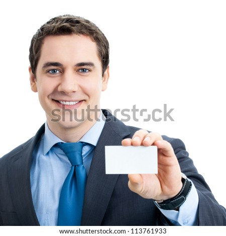Happy smiling business man showing blank businesscard, isolated over white background - stock photo
