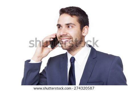 Happy smiling business man talking on the phone, isolated on white background - stock photo