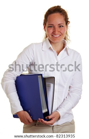 Happy smiling business woman carrying files and folders - stock photo