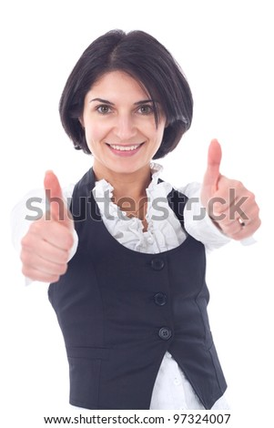 Happy smiling business woman showing thumbs up gesture, isolated on white background - stock photo