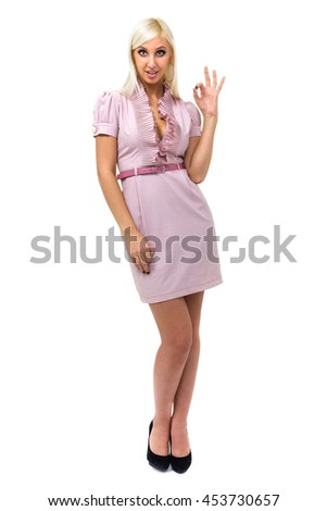 Happy smiling business woman with OK gesture, isolated on white background in full length. - stock photo