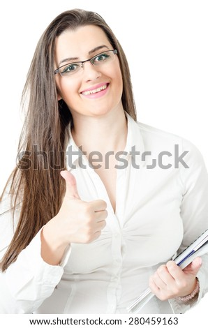Happy smiling business woman with thumbs up gesture and clipboard in hands. isolated on white background - stock photo
