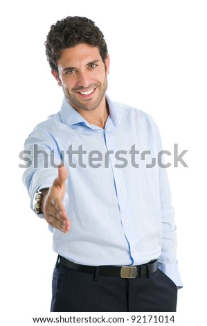 Happy smiling businessman giving hand for an handshake isolated on white background - stock photo
