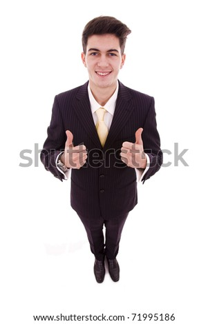 Happy smiling businessman with thumbs up gesture, isolated on white background - stock photo