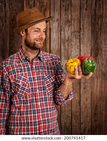 Happy smiling caucasian forty years old farmer or gardener in a hat holding peppers in hand on rustic vintage planked wood background - agriculture. Food production - vegetables. - stock photo
