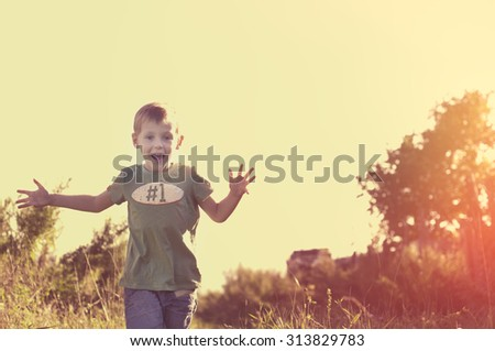 Happy smiling cheerful child running to his mom at sunset - stock photo
