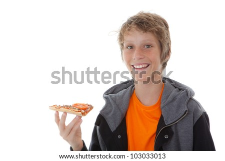 happy smiling, child eating fast food pizza slice - stock photo