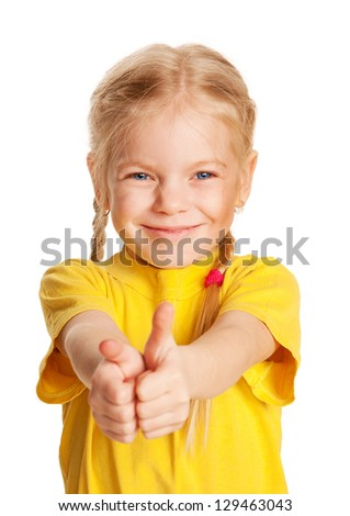 Happy smiling child showing a thumbs up sign or like. Isolated on white background - stock photo