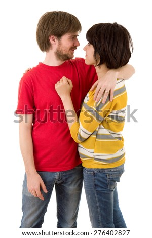 Happy smiling couple in love isolated on white background - stock photo