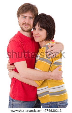 Happy smiling couple in love. Over white background - stock photo