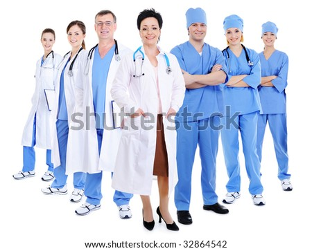 happy smiling doctors and surgeons - isolated on white background - stock photo
