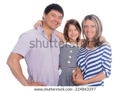 Happy smiling family portrait isolated on white background - stock photo