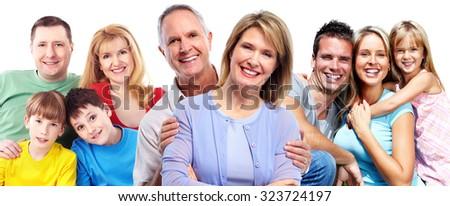 Happy smiling family portrait isolated on white background. - stock photo