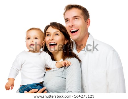 Happy Smiling Family Portrait isolated on White Background. Father and Mother with Little Baby Looking Up and Laughing. Parents with Child with Healthy White Teeth - stock photo