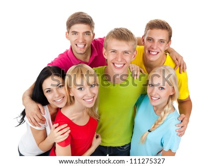 Happy smiling friends, group of young people standing and embracing together top angle view isolated on white background - stock photo
