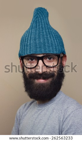Happy smiling man with enlarged head and small body, close up, very funny. - stock photo