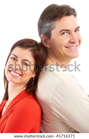 Happy smiling mature couple in love. Over white background - stock photo