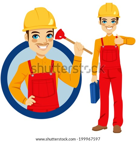 Happy smiling plumber holding plunger wearing red overall uniform holding tool box and making positive expression with thumbs up hand sign - stock photo