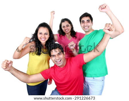 Happy smiling portrait of Young Asian group of people looking at camera, smiling and celebrating. Isolated on white background