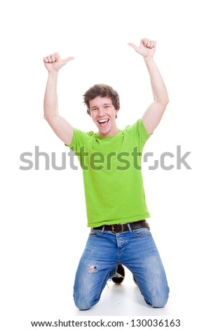 happy smiling positive successful student thumbs up for success - stock photo