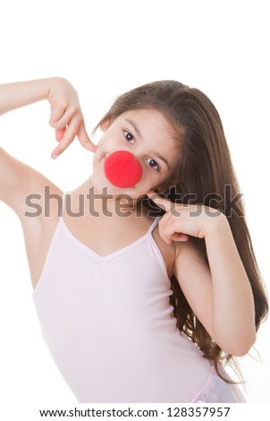 happy smiling red nose day kid - stock photo