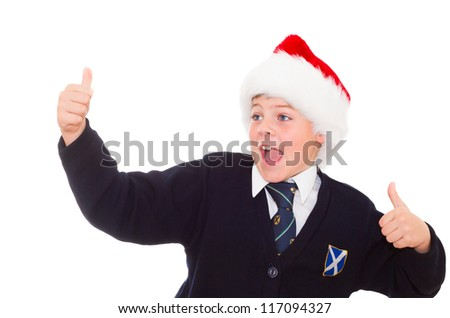 Happy smiling school boy gesturing thumbs up hands sign OK. Isolated on white background. - stock photo