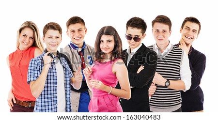 Happy smiling  school graduates young people group  - stock photo