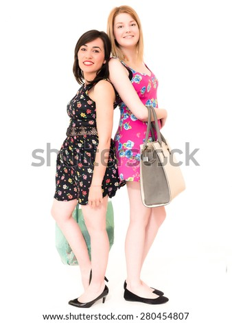 Happy Smiling Shopping Women with Bags - stock photo