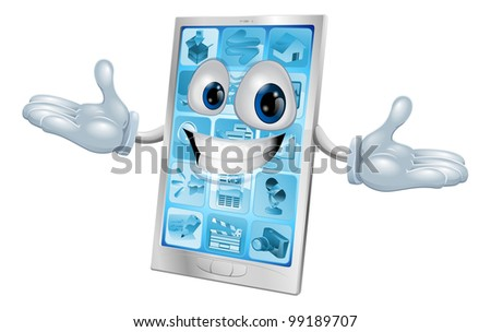 Happy smiling silver and blue phone cartoon character or mascot - stock photo