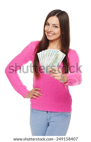 Happy smiling woman giving you us dollar money over white background - stock photo
