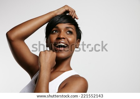 happy smiling woman is dancing  - stock photo