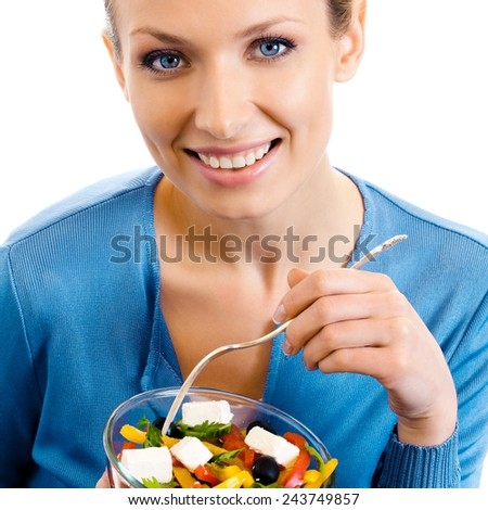 Happy smiling woman with salad, isolated on white - stock photo