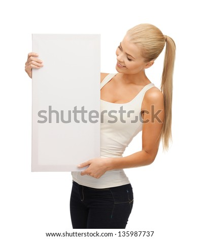 happy smiling woman with white blank board - stock photo
