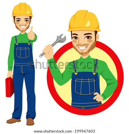 Happy smiling worker holding adjustable wrench wearing blue overall uniform holding tool box and making positive thumbs up hand sign expression - stock photo