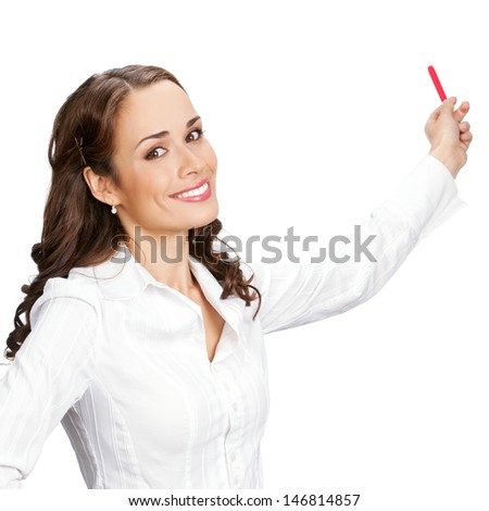 Happy smiling young business woman showing blank area for sign or copyspase, isolated over white background - stock photo