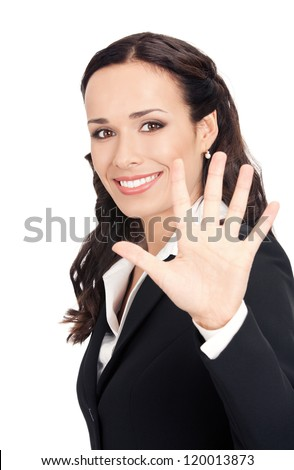 Happy smiling young business woman showing five fingers, isolated over white background - stock photo