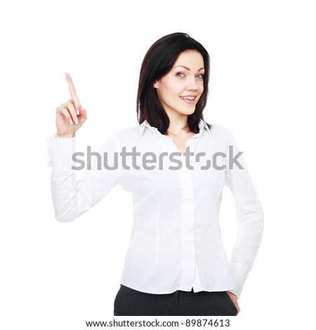 Happy smiling young business woman showing one, isolated on white background - stock photo