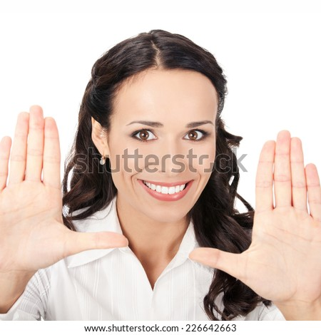 Happy smiling young business woman showing stop gesture, isolated on white background - stock photo