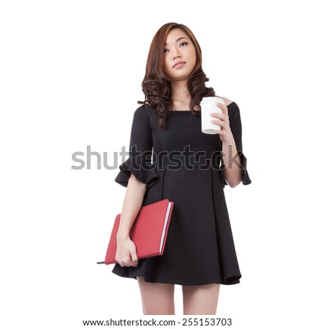 Happy smiling young businesswoman with coffee from disposable cup. Beautiful mixed asian / caucasian model. Isolated white background. / walking holding daily & coffee cup - stock photo