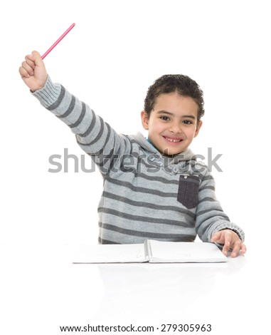 Happy Smiling Young Schoolboy Studying Isolated on White Background - stock photo