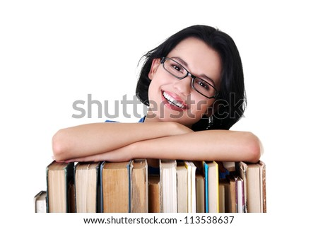 Happy smiling young student woman with books, isolated on white background - stock photo
